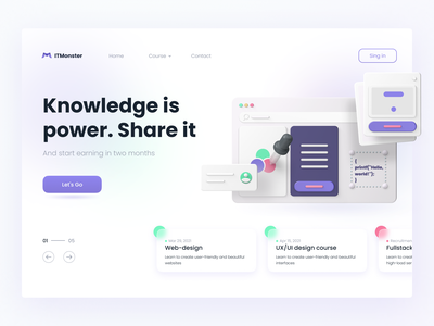 Knowledge is power. Share it web design landingpage landing online course learning 3d figma concept uxui interface design uidesign ui