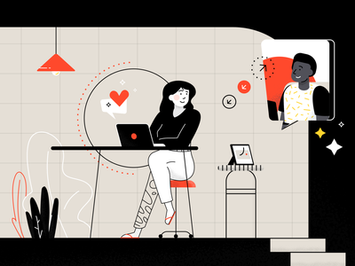 Work & Communication working man colors girl illustration flat vector character people chat communication workspace work