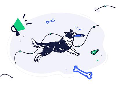 Jumping Dog Catching Frisbee marketing agency marketing flat animals illustrated animals vector illustration jump frisbee