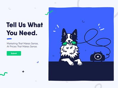 Marketing Dog | Fide character dog design vector flat illustration