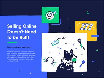 E-commerce & Marketing | Fide dog marketing site marketing agency marketing e-commerce design branding colors character flat vector illustration