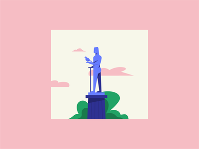 The Winner Monument belgrade statue monument colors branding flat vector illustration