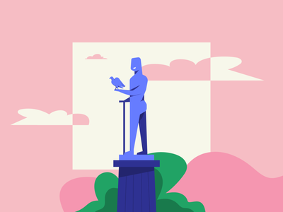 The Winner Monument man design colors people character flat vector illustration