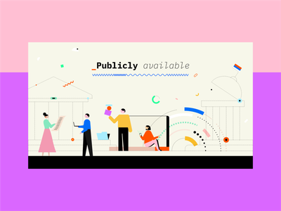 Publicly Available Data typography data illo girl people colors character flat vector illustration