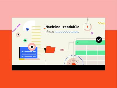 Machine-Readable Data database data flat vector illustration