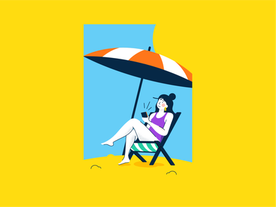 At The Beach summer vacation beach people character flat vector illustration