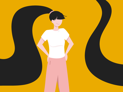 A Girl standing people vector girl illo character flat illustration