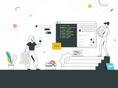Working with Code computer screen java php programming coding code geometric ui settings laptop workspace work screen ui branding colors people vector flat character