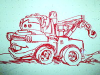 Whiteboard sketch of Mater