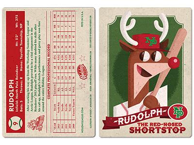 Rudolph Card Final rudolph baseball card holiday reindeer