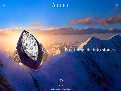 Aliel, high end jewellery.  web design parallax website