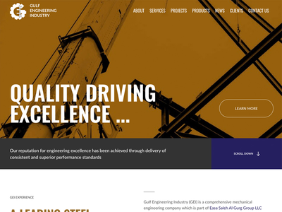 Corporate website for Gulf Engineering Industry uae dubai user experience ux web development web design website