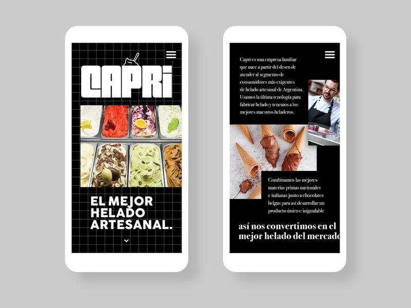 Capri   Homemade Ice Cream from Argentina mobile responsive design web design ice cream logo ice cream concept logo branding design
