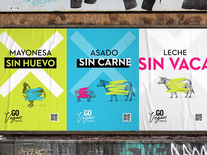 Go Vegan Argentina Campaign colors illustration vector guerrilla campaign concept logo branding design