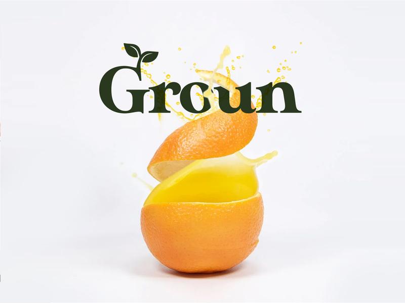 Groun | Organic natural fruit juice organic natural concepts juice fruit typography concept logo branding design
