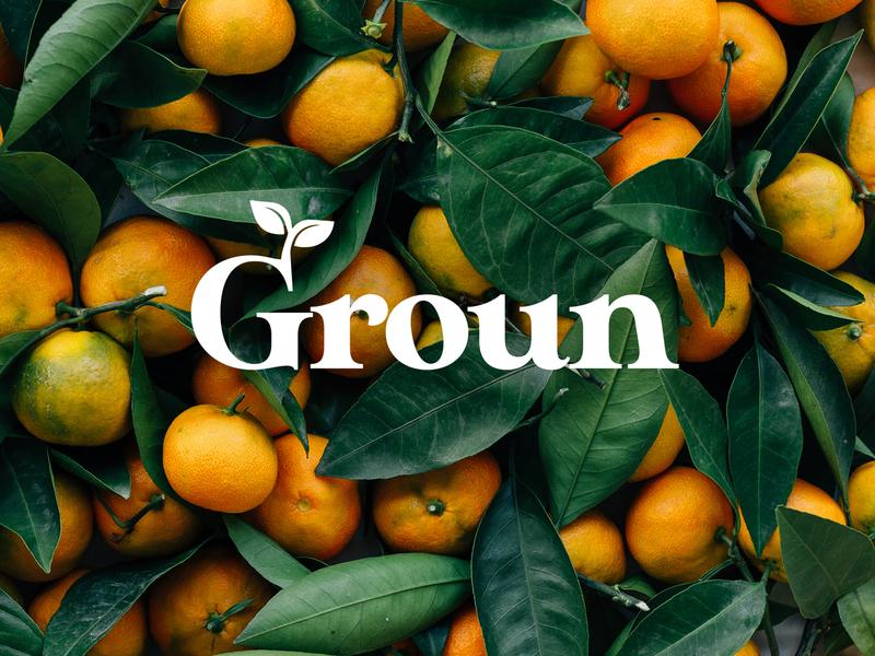 Groun | Organic natural fruit juice natural organic juice typography concept logo branding design