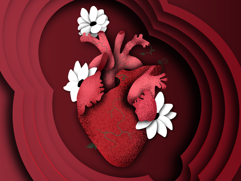 heart heartbeat anatomyheart flowers heart design vector illustration adobe illustrator vector illustration