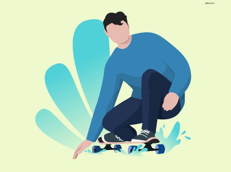 Sk8 Boi skateboard skater skate illustration character vector
