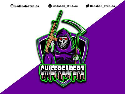 Cartoon mascot reaper skull logo reaper mascot logo grim reaper gaming logo esports logo twitch logo mascot mascot logo cartoon cartoon logo logo