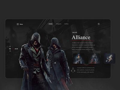 Assassin's Creed Landing page gaming game assassinscreed assassins assassin web design web vector ui