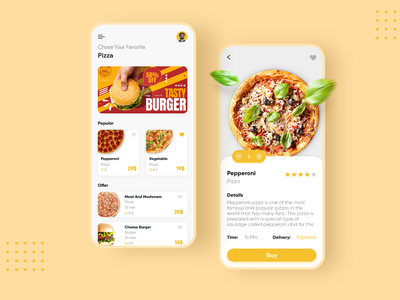 Pizza App yellow app pizza food app food ui ux ui