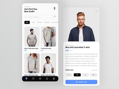 Clothes shop application mobile app design mobile ui outfit clothes app design app ui ux ui