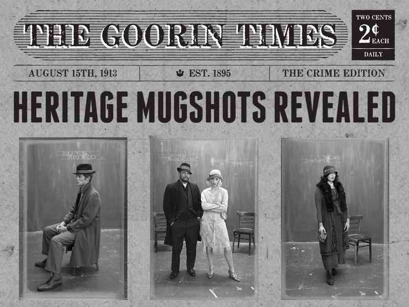Heritage Mugshots Gazette wordmark print poster signage newspaper hooligans ruffians rascals heritage tried-and-true vintage americana ephemera lettering branding identity typography graphic design graphic illustration