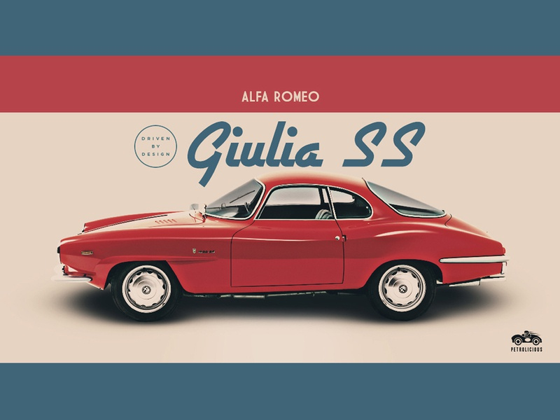 Giulia SS  (Petrolicious) luxury sportscar alfa romeo vintage typography lettering illustration identity icon hot rod heritage banner ad graphic design graphic design cars car culture branding