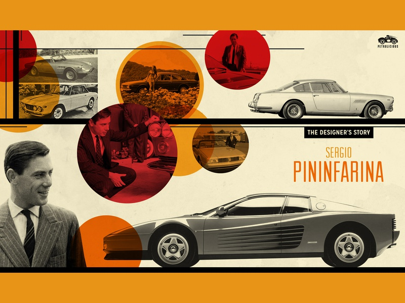 Sergio Pininfarina  (Petrolicious) luxury sportscar vintage typography lettering illustration identity icon hot rod heritage graphic design graphic design cars car culture branding banner ad alfa romeo