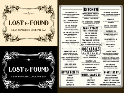Lost & Found Cocktail Bar (Branding Elements) restaurant logo restaurant branding sunset district logo cocktail bar barbary coast speakeasy layout design heritage americana ephemera vintage graphic design typography identity branding tried-and-true coasters menu san francisco