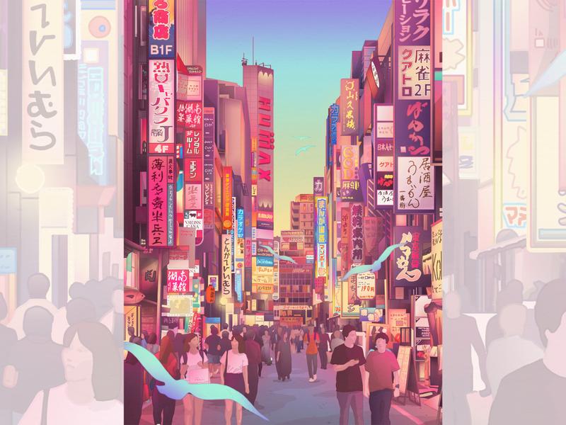 Tokyo, Shinjuku District japanese art japanese wallart artprint cityscape tokyo japan design illustration