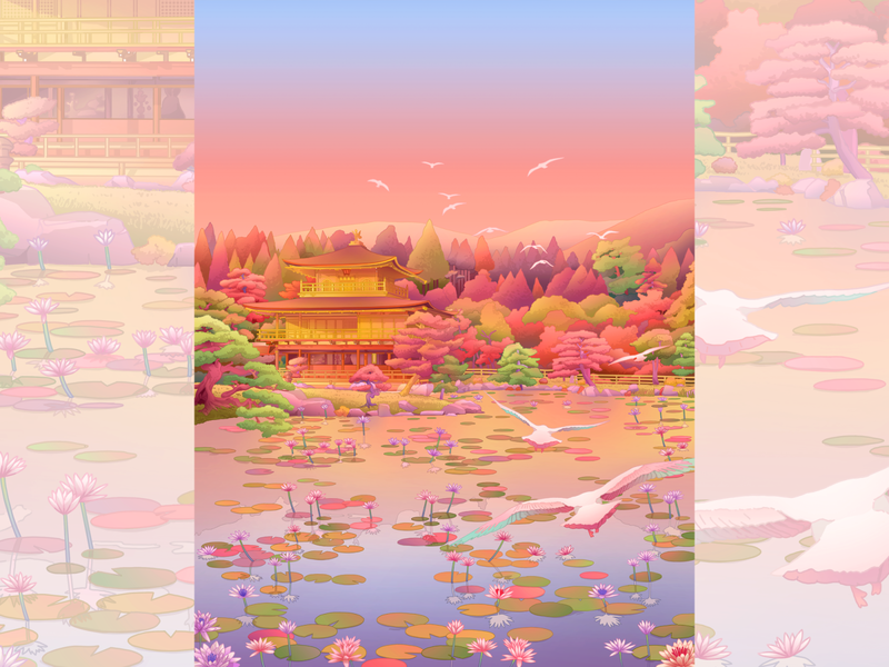 Kinkaku-Ji, the Temple of the Golden Pavilion zen buddhist illustration art kyoto japanese art japanese japan illustration cityscape artprint