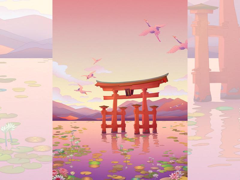 """The Itsukushima Shrine """"floating"""" Torii Gate art japanculture artwork illustration art japanese art japan illustration artprint"""