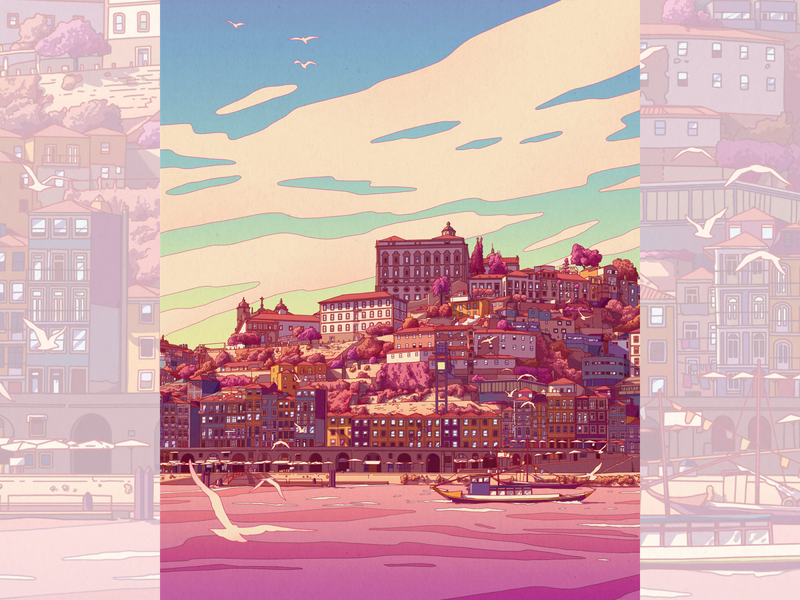 Porto illustration print artworks porto city city illustration illustration art artwork cityscape illustration artprint