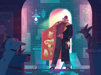 Once upon a time at some backstreet concept cartoon dogs cats dribbble character art fireart fireart studio illustration