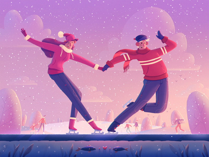 Happy Valentine's Day! skates love valentines valentines day character fireart studio fireart illustration