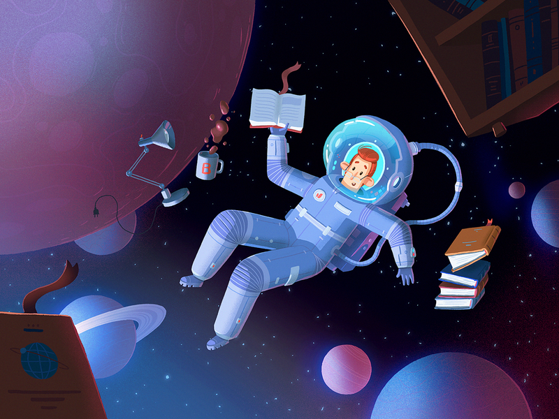 Quiet space reading book space character dribbble art fireart studio fireart illustration
