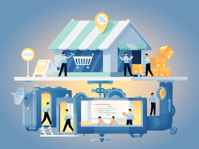 Behind the scenes of your e-business character dribbble art fireart fireart studio illustration