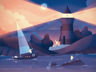 Illustration trends 2020 lighthouse art dribbble fireart studio fireart illustration