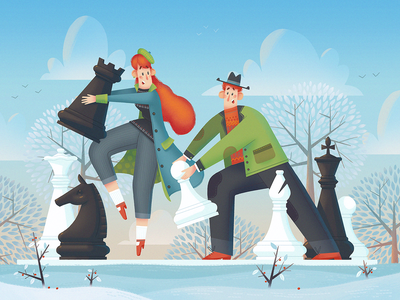 Checkmate! chess concept dribbble character fireart studio fireart illustration