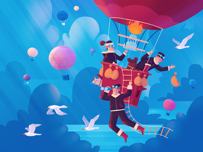 Discovering new horizons concept character dribbble fireart studio fireart illustration