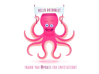 Thanks to Pasha Lunevich for invitation! thank you hello creature dribbble debut octopus thanks