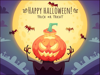 Happy Halloween Pumpkin Scarecrow trick or treat illustration moon pumpkin halloween