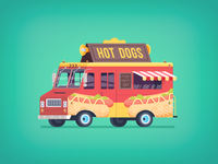 Flat food truck illustration