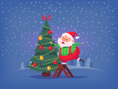 Cartoon Santa Claus illustration vector character cartoon christmas holiday christmastree santaclaus