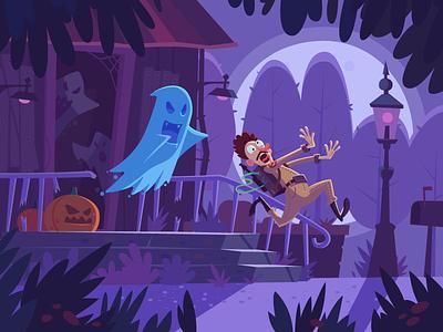 Haunted house fireart studio ghost character fireart design illustrator vector illustration