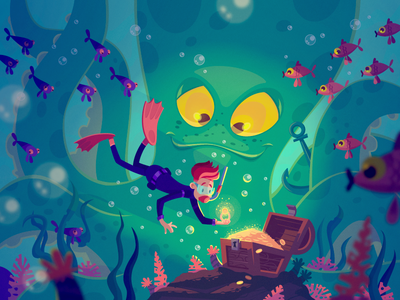 A treasure hunter fireart studio character diver treasure underwater design vector illustration fireart