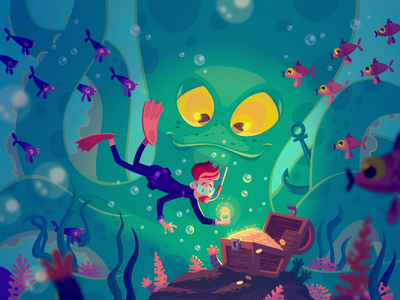 A treasure hunter fireart studio character diver treasure underwater design vector illustration fireart