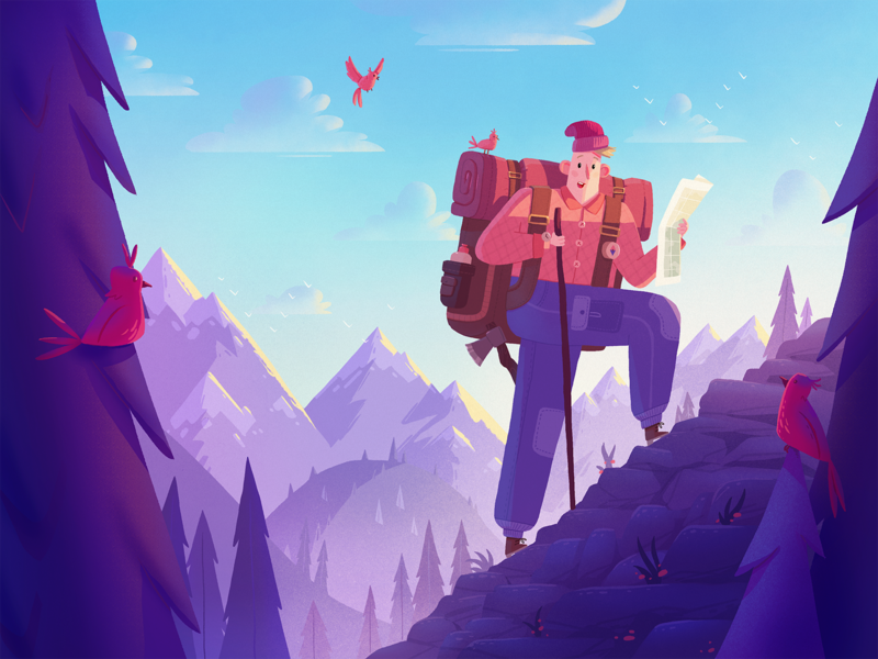 Adventure Seeker adventure travel hiking mountains dribbble illustration character fireart studio fireart