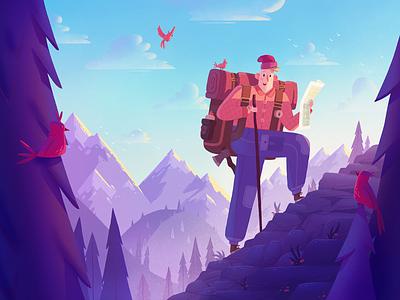 Adventure Seeker adventure travel hiking mountains dribbble illustration character fireart studio fireart